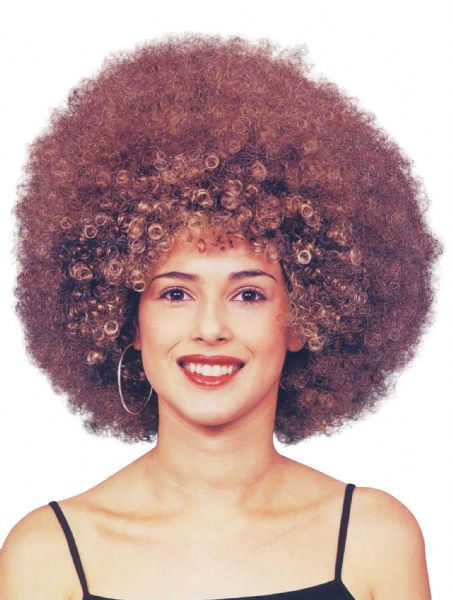 Ladies Beyonce Afro Brown Wig 70s Disco Hippie Fancy Dress